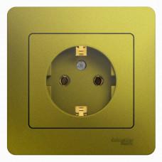 Glossa Фисташковый Розетка с/з (в сборе) | GSL001042 | Schneider Electric