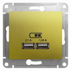 Glossa Фисташковый USB Розетка, 5В/2100мА, 2х5В/1050мА, механизм | GSL001033 | Schneider Electric