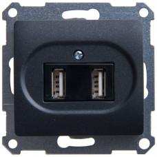 Glossa Антрацит Розетка USB 5В/1400 мА, 2х5В/700мА (GSL000732) | GSL000732 | Schneider Electric