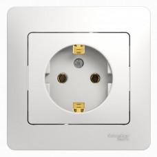 Glossa Белый Розетка с/з (в сборе с рамкой) | GSL000142 | Schneider Electric