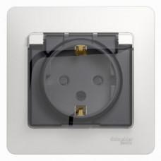 Glossa Белый Розетка с/з со шторками с крышкой, IP44 (в сборе с рамкой) | GSL000148 | Schneider Electric