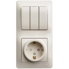 Glossa Бежевый Блок: розетка с/з со шторками и 3-кл. выключатель | GSL000278 | Schneider Electric