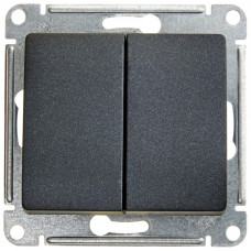 Glossa Антрацит Выключатель 2-клавишный, сх.5, 10АХ | GSL000751 | Schneider Electric