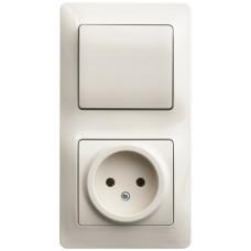 Glossa Бежевый Блок: розетка и 1-кл. выключатель | GSL000260 | Schneider Electric