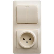 Glossa Бежевый Блок: розетка и 2-кл. выключатель | GSL000273 | Schneider Electric