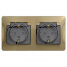 Glossa Титан Розетка 2-ая с з/к, со шторками (в сборе), IP44 | GSL000447 | Schneider Electric