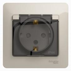 Glossa Молочный Розетка с/з со шторками с крышкой IP44 (в сборе) | GSL000948 | Schneider Electric