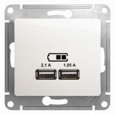 Glossa Перламутр USB Розетка, 5В/2100мА, 2х5В/1050мА, механизм | GSL000633 | Schneider Electric