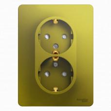 Glossa Фисташковый Розетка 2-ая с/з со шторками (в сборе) | GSL001026 | Schneider Electric