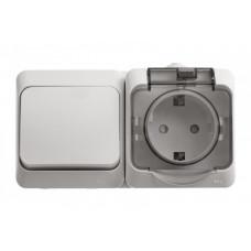 ЭТЮД О/У Белый Блок: Розетка с/з со шторками + переключатель 1-клавишный IP44 | BPA16-246B | Schneider Electric