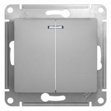 Glossa Алюминий Выключатель 2-клавишный с подсветкой, сх.5а, 10АХ   GSL000353   Schneider Electric