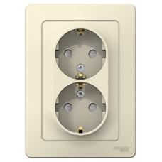 Blanca С/У Молочный Розетка 2-ая с/з со шторками, 16А, 250В | BLNRS001122 | Schneider Electric