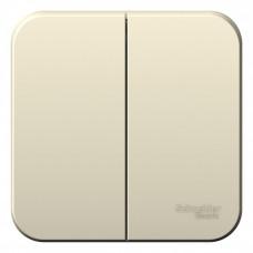 Blanca О/У с изол. пласт. Молочный Выключатель 2-клавишный 10А, 250B | BLNVA105012 | Schneider Electric