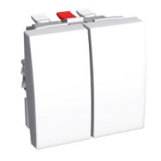 ПЕРЕКЛЮЧАТЕЛЬ 2X-КЛАВИШНЫЙ 16A БЕЛ R9003 | ALB44056 | Schneider Electric