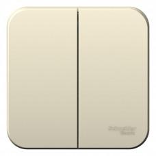 Blanca О/У без пласт.Молочный Выключатель 2-клавишный, 10А, 250B | BLNVA105002 | Schneider Electric