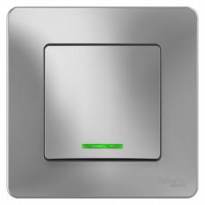 Blanca С/У Алюминий Выключатель 1-клавишный с подсветкой, 10А, 250B | BLNVS010113 | Schneider Electric