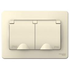 Blanca С/У Молочный Розетка 2-ая с/з со шторками IP44, 16А, 250В | BLNRS441122 | Schneider Electric