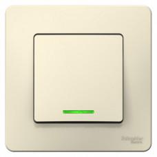 Blanca С/У Молочный Выключатель 1-клавишный с подсветкой, 10А, 250B | BLNVS010112 | Schneider Electric