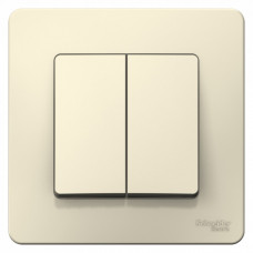 Blanca С/У Молочный Выключатель 2-клавишный 6А, 250В | BLNVS006502 | Schneider Electric