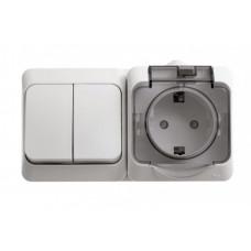 ЭТЮД О/У Белый Блок: Розетка с/з со шторками + выключатель 2-клавишный IP44 | BPA16-242B | Schneider Electric