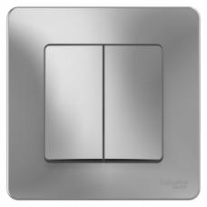 Blanca С/У Алюминий Выключатель 2-клавишный, 10А, 250B | BLNVS010503 | Schneider Electric