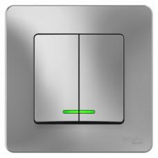 Blanca С/У Алюминий Выключатель 2-клавишный с подсветкой, 10А, 250B | BLNVS010513 | Schneider Electric