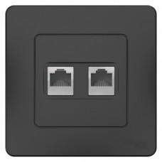 Blanca С/У Антрацит Розетка 2-ая КОМП/ТЛФ, RJ45+RJ11 | BLNIS045116 | Schneider Electric