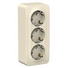 Blanca О/У с изол. пласт. Молочный Розетка 3-ая с/з без шторок 16А, 250В | BLNRA010312 | Schneider Electric
