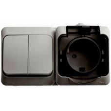 ЭТЮД О/У Серый Блок Выключатель 2-клавишный + розетка с/з со шторками IP44 | BPA16-242C | Schneider Electric