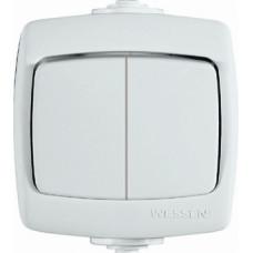 РОНДО О/У Белый Выключатель 2-клавишный 10А, IP44 | VA510-228B-BI | Schneider Electric