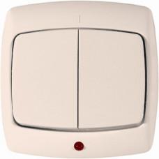 РОНДО С/У Сл. кость Выключатель 2-клавишный с подсветкой 10А (в сборе)   VS5U-227-SI   Schneider Electric