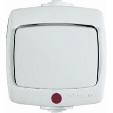 РОНДО О/У Белый Переключатель 1-клавишный с подсветкой 6А, IP44 | VA66-123B-BI | Schneider Electric
