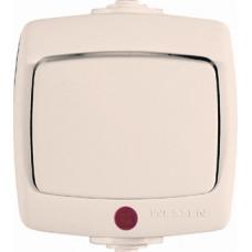 РОНДО О/У Сл. кость Переключатель 1-клавишный с подсветкой 10А, IP44   VA610-129B-SI   Schneider Electric