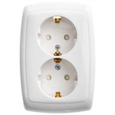 РОНДО С/У Белый Розетка 2-ая б/з с защитными шторками 16А (в сборе) | RS16-225-BI | Schneider Electric