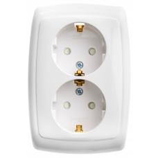 РОНДО С/У Белый Розетка 2-ая с/з с защитными шторками 16А (в сборе) | RS16-226-BI | Schneider Electric