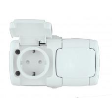 РОНДО О/У Белый Розетка 2-ая с/з с защитными шторками и крышкой 16А, IP44 | RA16-227B-BI | Schneider Electric