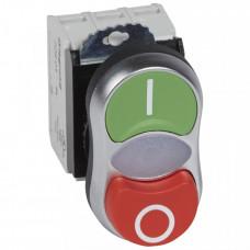 Кнопка двойная с подсв. Osmoz КРАСН О/ЗЕЛ I без фикс. 230В+НО+НЗ конт.бл. | 023767 | Legrand