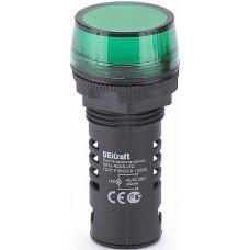 Лампа комм. ADDS 22 мм LED зел. 220В AC/DC ЛK-22 | 25118DEK | DEKraft