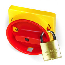Желтая площадка 67х67 - красная ручка B64 22мм с замком для серии А   AZ6601   DKC