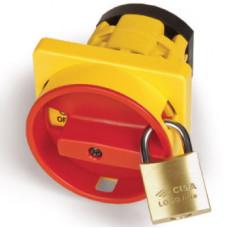 Желтая.площадка и красн.ручка, 92х92, на винты. С замком и возможностью блокировки двери   AZ21201   DKC