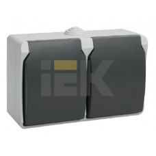 РСб22-3-ФСр Розетка двухместная с з/к для открытой установки IP54 Форс | ERS22-K03-16-54-DC | IEK
