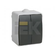 ВС20-2-0-ФСр Выключатель двухклавишный для открытой установки IP54 Форс | EVS20-K03-10-54-DC | IEK