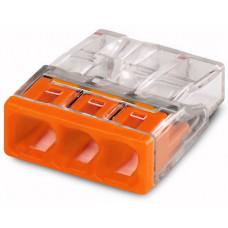 Клемма 3-проводная 0.5-2.5мм2 одножильный оранжевый (уп/100шт)   2273-203   WAGO