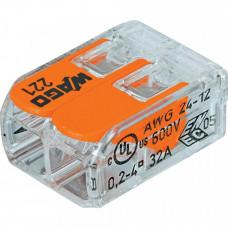 Клемма универсальная 2-проводная 0.2 - 4 мм.кв. (уп/100шт)   221-412   WAGO