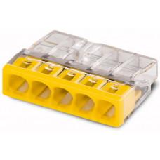 Клемма 5-проводная 0.5-2.5мм2 одножильный желтый (уп/100шт)   2273-205   WAGO
