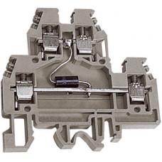 DAS.4/D60GR, 2х уровневый проходной зажим серый 4 кв.мм с диодом между уровнями 60В | ZDSD060GR | DKC