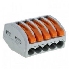 Строительно-монтажная клемма СМК 222-415 с рычагом 5 отверстий 0,08-2,5мм2 (100шт.) EKF PROxima   plc-smk-415   EKF