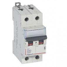Выключатель автоматический двухполюсный DX3 6000 50А D 10кА | 408036 | Legrand