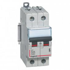 Выключатель автоматический двухполюсный DX3 6000 25А D 10кА | 408033 | Legrand