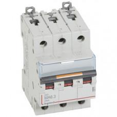 Выключатель автоматический трехполюсный DX3 6,3А MA 25кА   409879   Legrand
